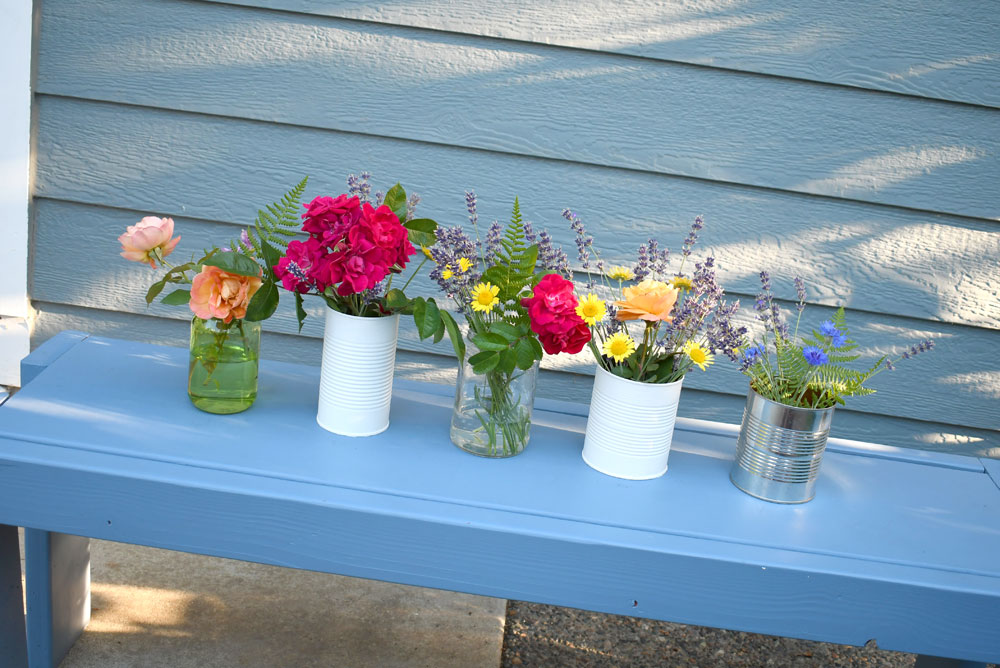 Pretty flower vases from recycled cans and jars