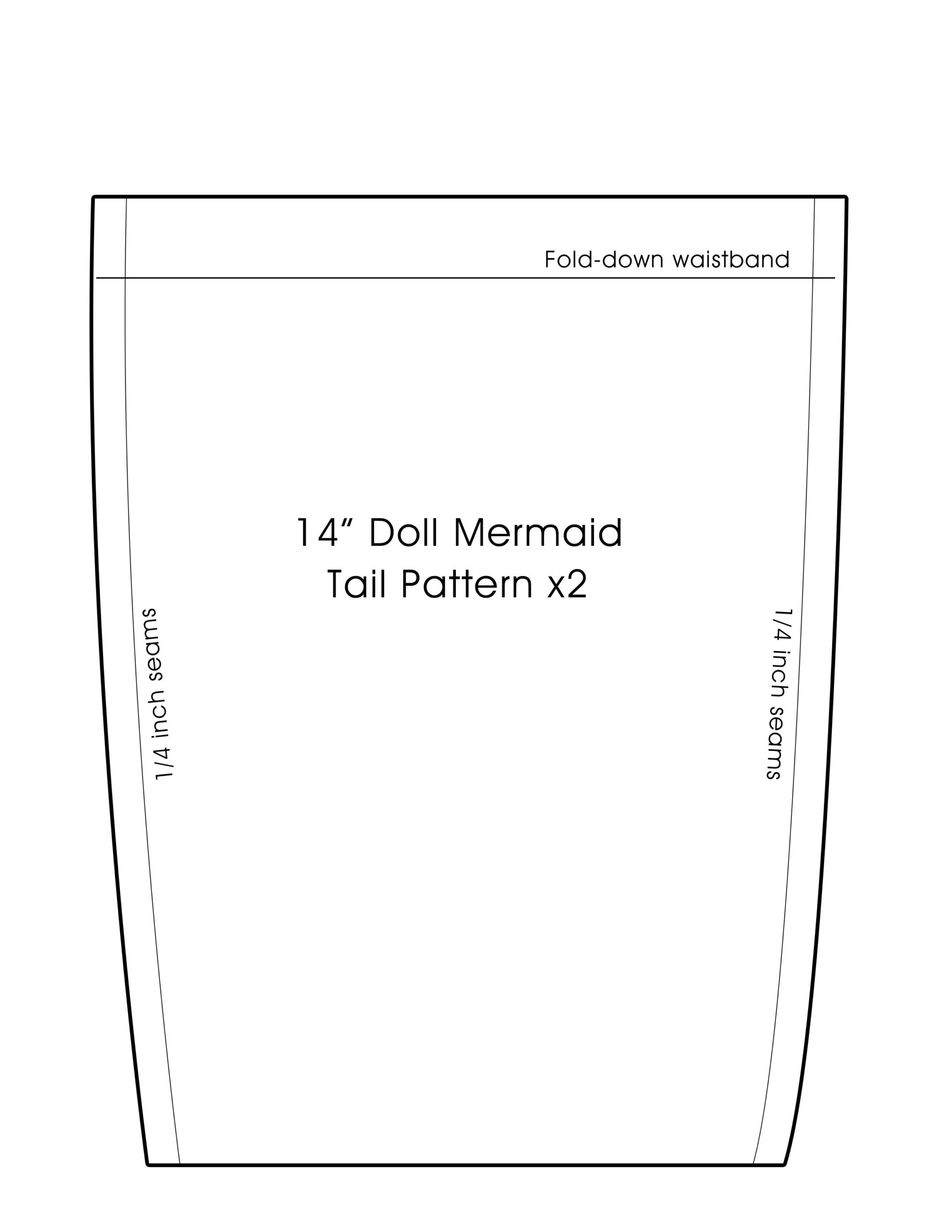 14 inch doll mermaid tail pattern
