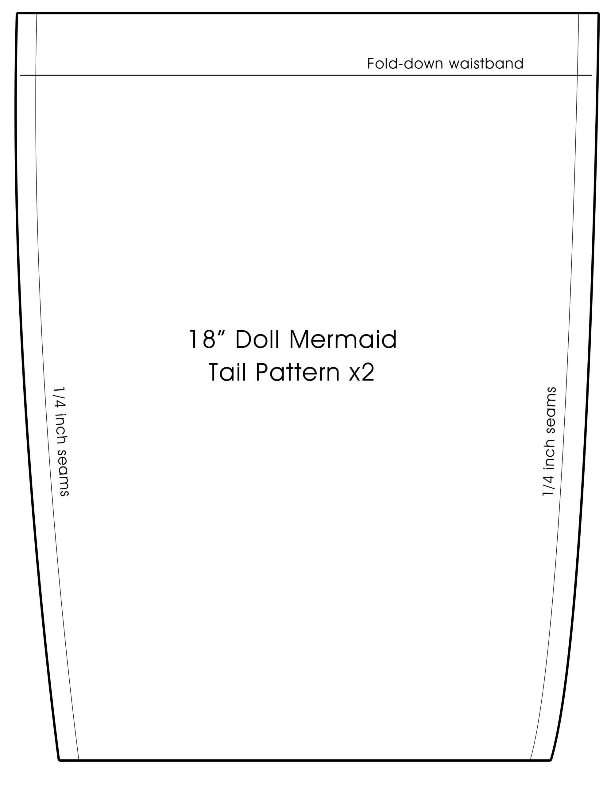 18 inch doll mermaid tail pattern