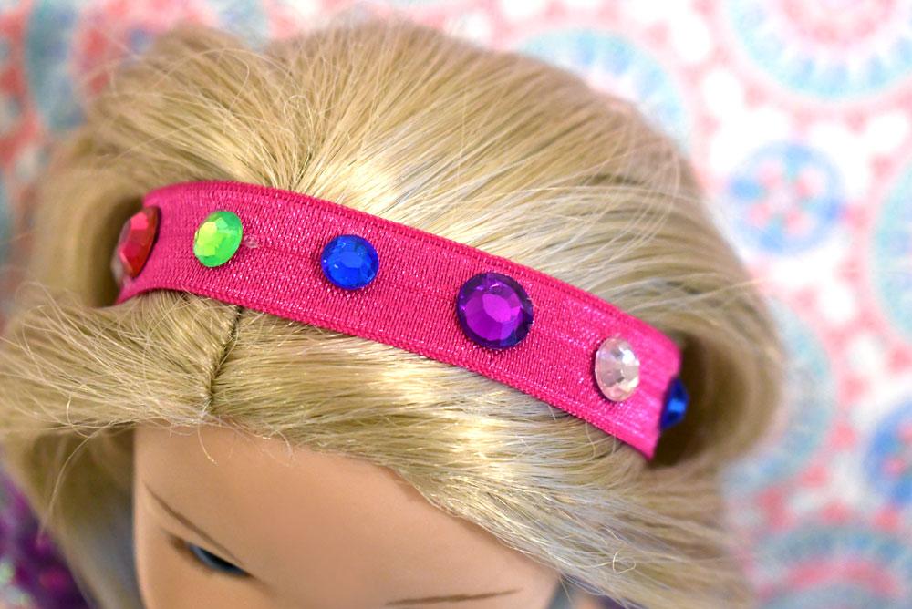 Easy DIY rhinestone headbands for WellieWisher dolls