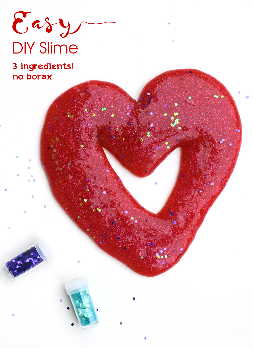 Easy DIY glitter slime for kids with 3 ingredients