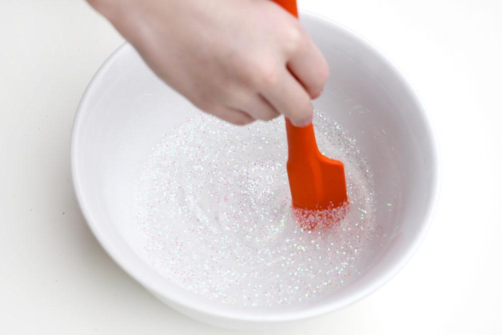 Easy DIY glitter slime recipe for kids