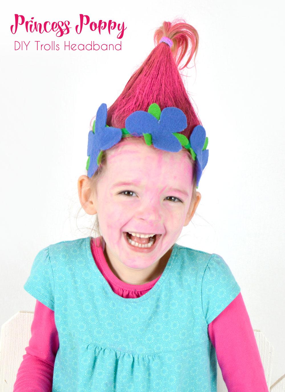 DIY Princess Poppy flower headband craft for girls