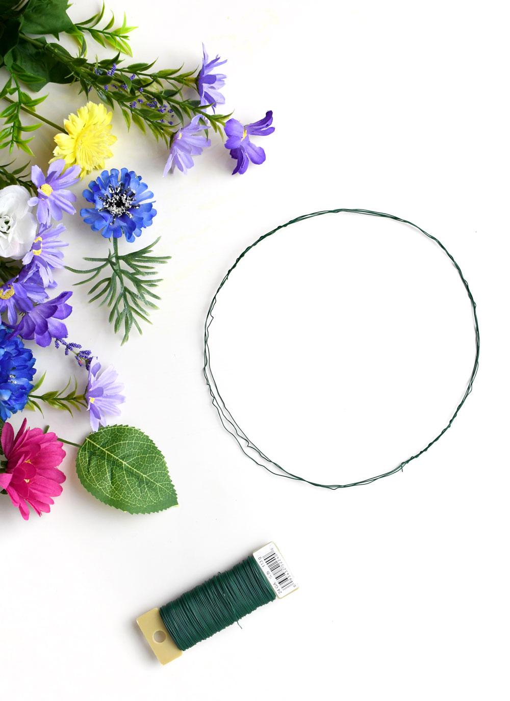 Design a DIY flower crown using silk flowers