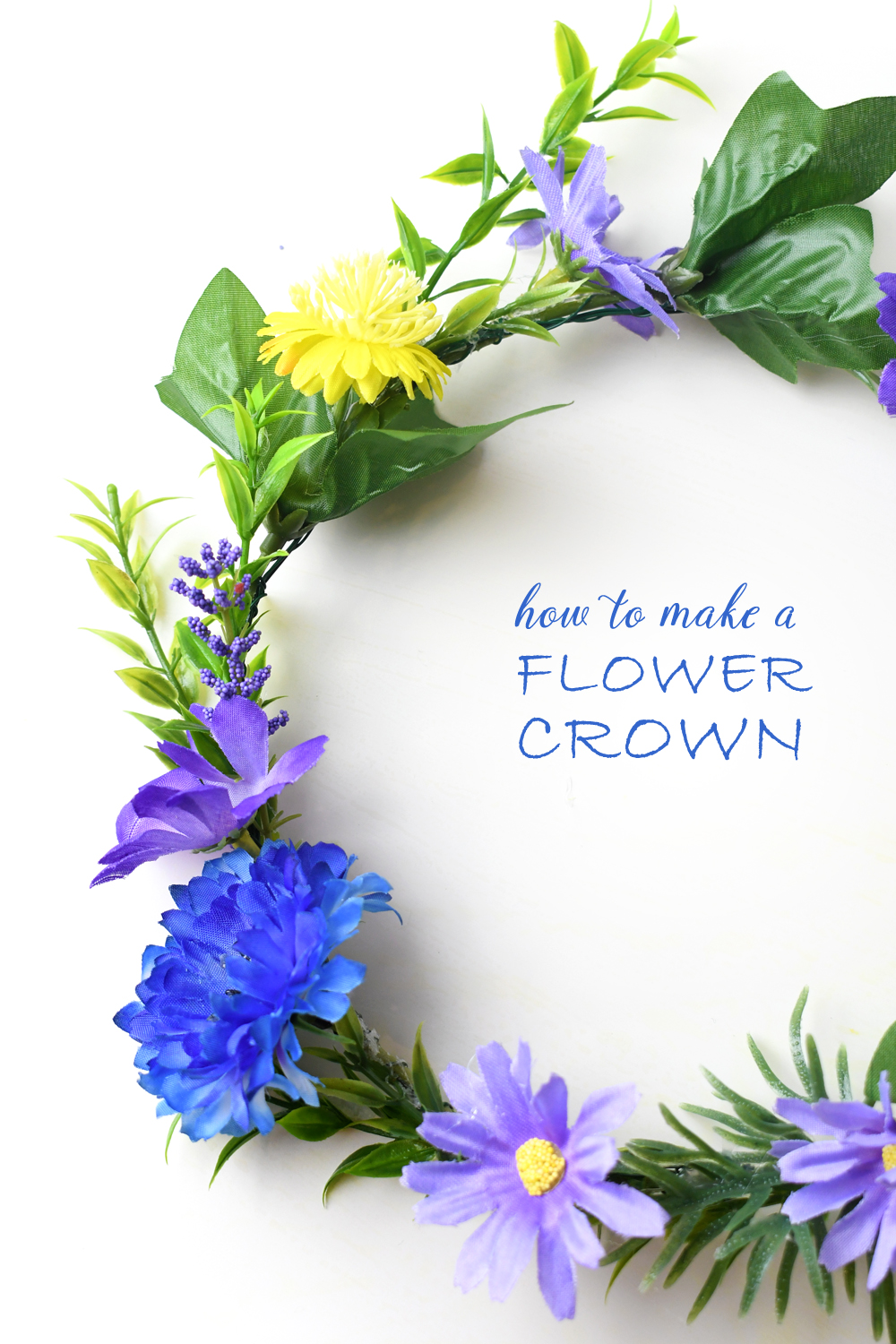 DIY flower crown using silk flowers and wire for photoshoots