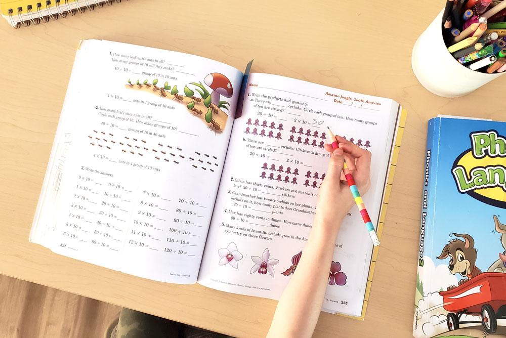 My homeschool routine with kids Abeka workbooks