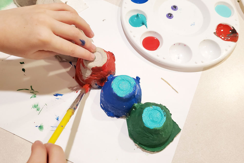 Colorful painted Egg carton caterpillars kids craft