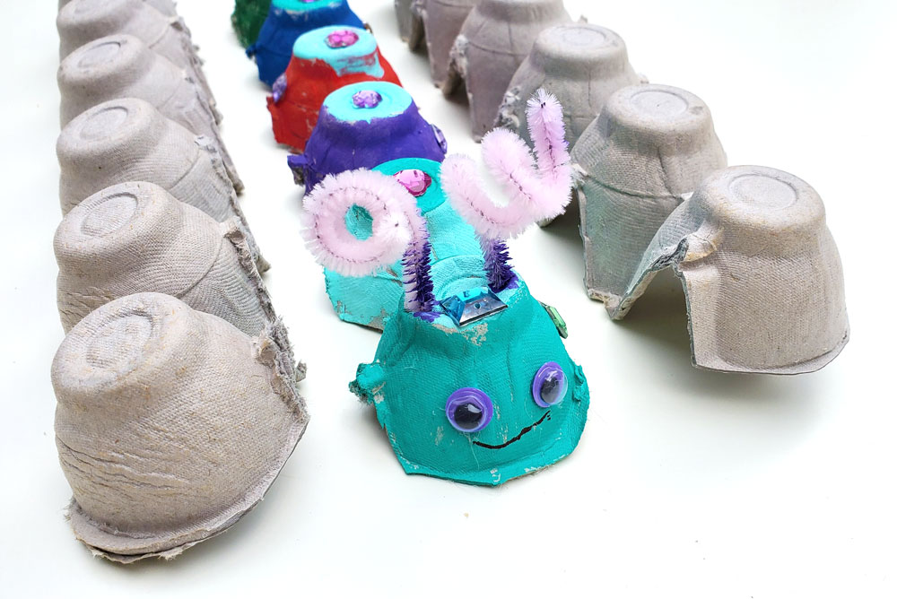 Egg carton caterpillars easy kids craft idea