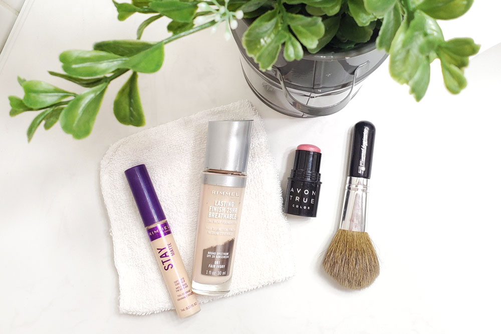Inexpensive makeup routine and top concealer, foundation and blush products