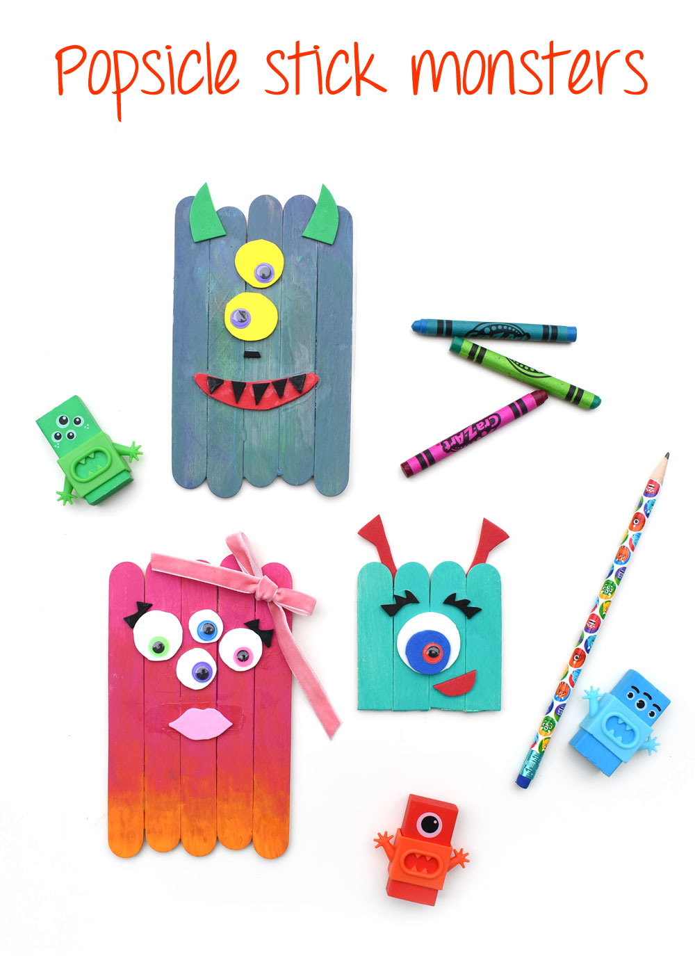 Creative DIY popsicle stick monsters kids craft