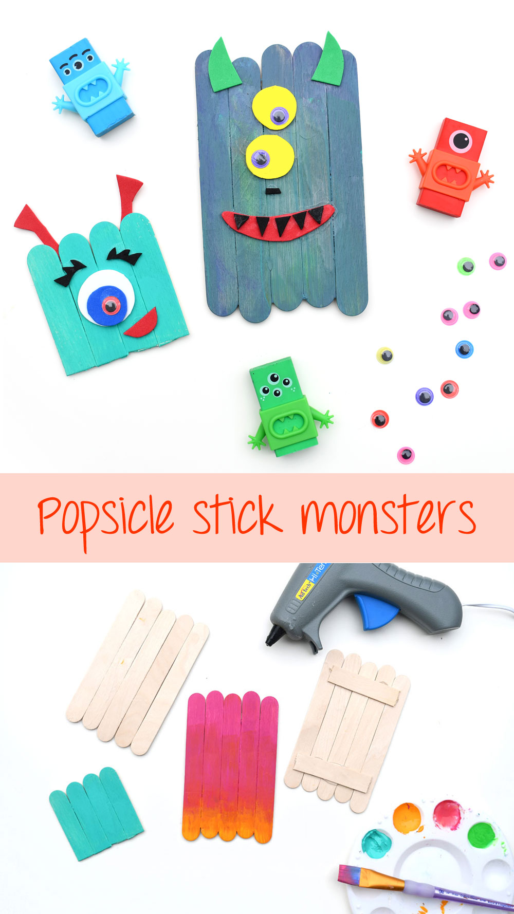 Colorful and creative popsicle stick monsters kids craft