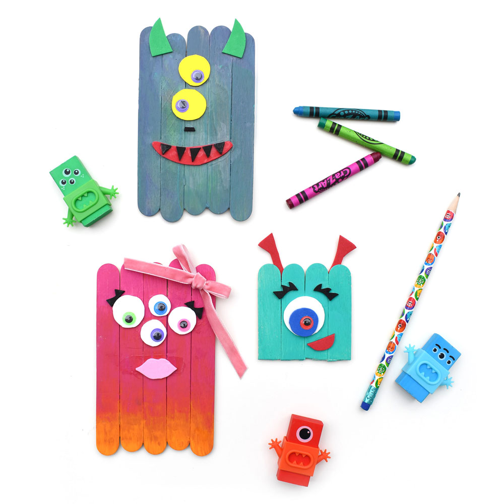 Creative popsicle stick monster kids craft