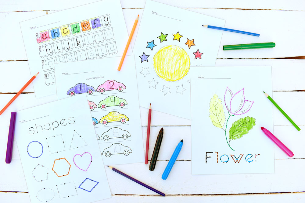 Preschool Tracing Worksheets & Coloring Pages - Create. Play. Travel.